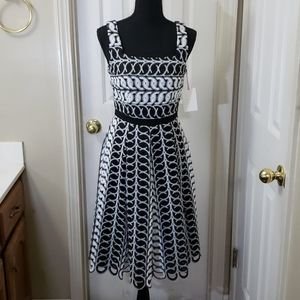 Alex Marie Sleeveless Black and White Dress